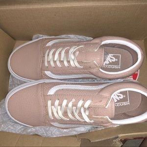 Blush pink leather vans
